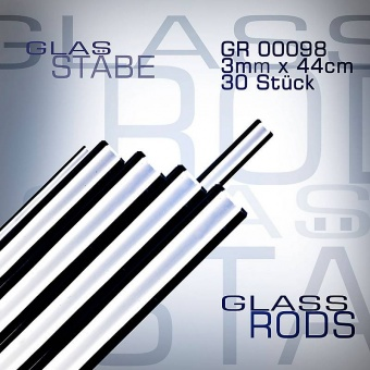 Cristalica 100 glass rods 30 pieces 3 mm x 44 cm